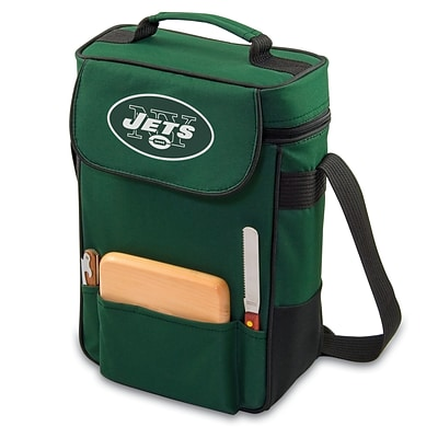 Picnic Time® NFL Licensed Duet New York Jets Digital Print Wine Picnic Tote, Hunter Green