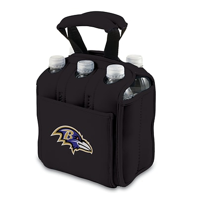 Picnic Time® NFL Licensed Six Pack Baltimore Ravens Digital Print Neoprene Cooler Tote, Black