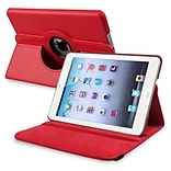 Insten® Leather 360 Deg Swivel Case With Stand For Apple iPad Mini 1/2, Red
