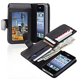 Insten® Leather Case With Wallet For Apple iPhone 4/4S, Black
