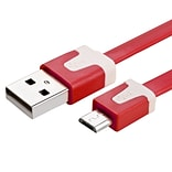 Insten® 1 m Micro USB 2.0 A/B 2-in-1 Noodle Cable, Red