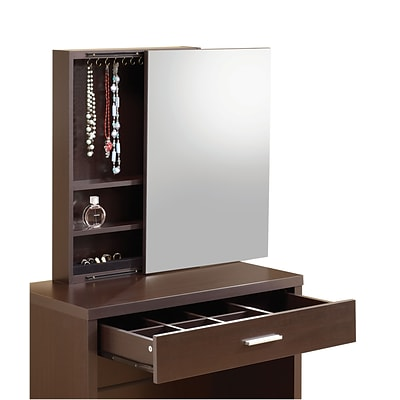 Coaster® Vanity With Hidden Mirror Storage and Lift Top Stool; Glossy Cappuccino