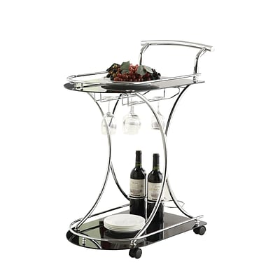 Coaster® Kitchen Serving Cart With 2 Black Glass Shelves; Chrome