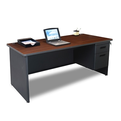 Marvel® Pronto® 66 x 30 Single Pedestal Desk, Mahogany/Dark Neutral