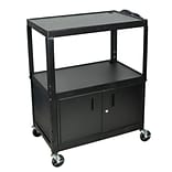 Luxor® AVJ42 Adjustable Height 3 Shelves Extra Large AV Cart With Cabinet, Black