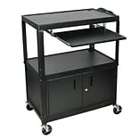 Luxor® AVJ42 Adjustable Height 3 Shelves Extra Large AV Cart W/Keyboard Shelf & Cabinet, Black