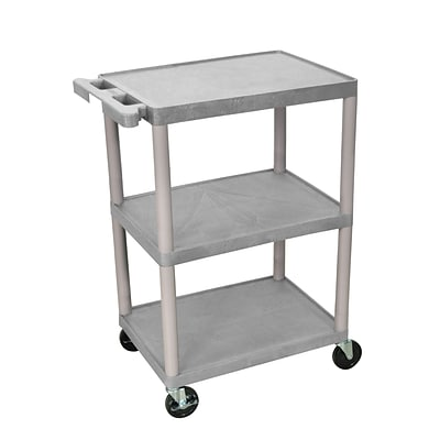 Luxor® HE 3 Shelves Polyethylene Utility Cart, Gray