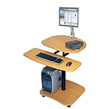 Luxor® Adjustable Height Computer Mobile Workstation Cart, Oak
