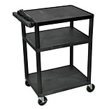 Luxor® 34(H) LP 3 Shelves Mobile Presentation AV Cart With 3 Outlet Electric, Black