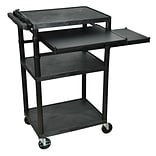 Luxor® LP 3 Shelves Mobile Presentation AV Cart With Front & Side Pull-Out-Shelf, Black