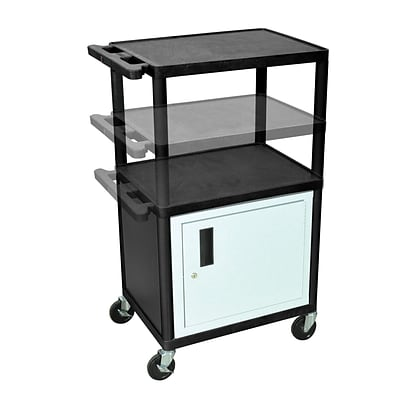 Luxor® LPDUO 3 Shelves Mobile Presentation Multi Height AV Cart With 3 Outlet Electric, Black