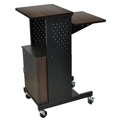 Luxor® PS Mobile Presentation Workstation With Cabinet, Walnut