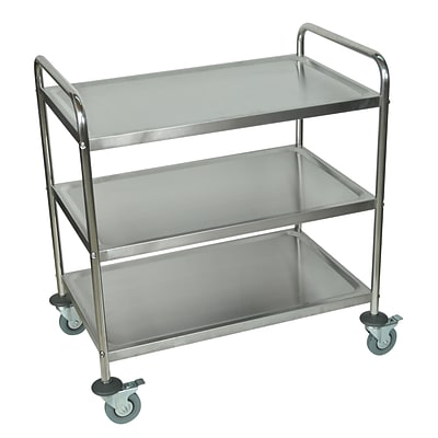 Luxor® Shelves Stainless Steel Serving Cart, Silver