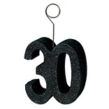 Beistle 3 x 2 1/2 Glittered 30 Photo/Balloon Holder; Black, 3/Pack