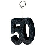 Beistle 5 x 1/2 Glittered 50 Photo/Balloon Holder; Black, 3/Pack