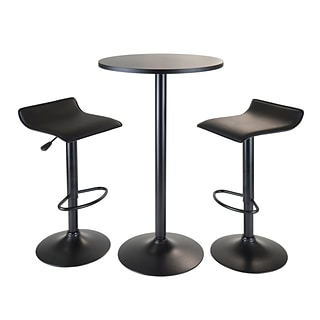 Winsome® Obsidian 39.76 MDF Veneer 3 Piece Round Table Pub Set With 2 Airlift Stools, Black
