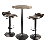 Winsome® Cora 40.04 Faux Marble 3 Piece Round Pub Table Set With 2 Swivel Stools, Black/Espresso