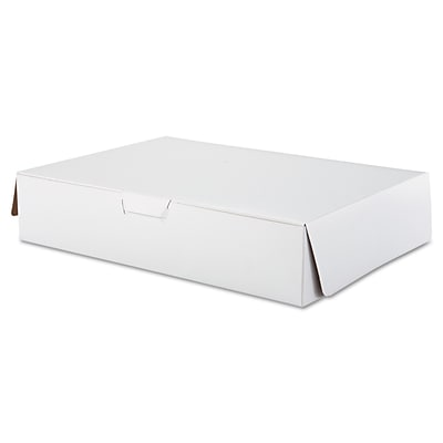 Southern Champion Tray White Paperboard Lock Corner Bakery Box, 4 x 14 x 19, 50/Pack