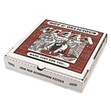 Pratt Plus B-Flute Corrugated Cardboard Pizza Box, White, 1 7/8(H) x 12(W) x 12(D), 50/Pack