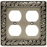 Franklin Brass Paisley Double Duplex Wall Plate; Brushed Satin Pewter