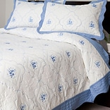 Lavish Home Brianna Microfiber 2 Piece Embroidered Quilt Set, Twin, Blue/White, 2/Set