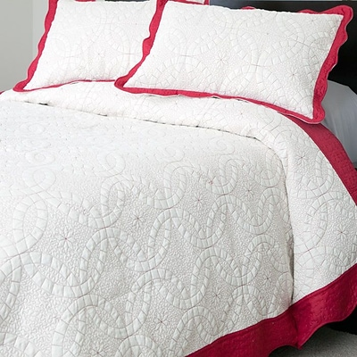 Lavish Home Lydia Microfiber 2 Piece Embroidered Quilt Set, Twin, Red/White