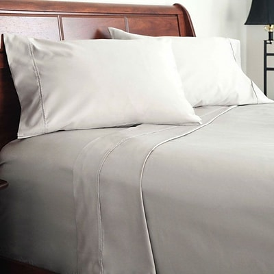 Lavish Home 1000 Thread Count Cotton Sateen 4 Piece Sheet Set, King, Platinum, 4/Set