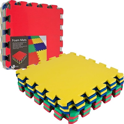Trademark Global™ 8 Piece Multicolor EVA Foam Exercise Mat, 2/Pack