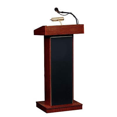 Oklahoma Sound® 42H x 22W x 17D MDF Orator Lectern With Wireless Handheld; Medium Oak