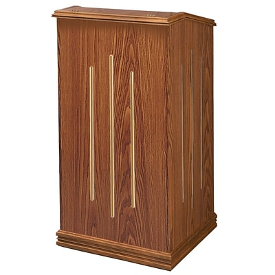 Oklahoma Sound Premier Floor Lectern, 47H x 22W x 18D, Medium Oak (501-MO)