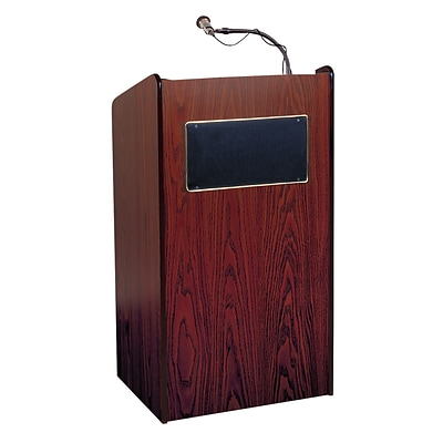 Oklahoma Sound Aristocrat Floor Lectern with Speakers Amplifier & Wireless Mic, Mahogany
