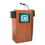 Oklahoma Sound® 46H x 24W x 21D MDF Vision Floor Lectern With LCD Screen and Sound, Cherry