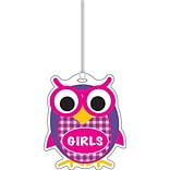 Ashley 3 3/4 Rubber Colorful Owl Girls Hall Pass With Strap
