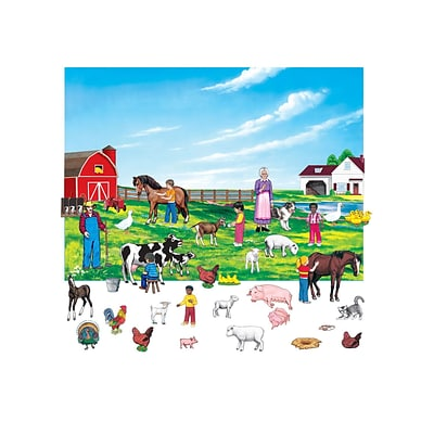 Little Folk Visuals 6 Figures Farm Flannelboard Set With Unmounted Background, 43/Set