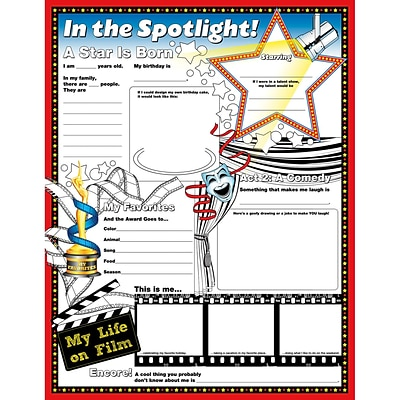 North Star Teacher Resources 17 x 22 In The Spotlight Fill Me In Poster