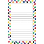 Teacher Created Resources 5 x 8 Notepad, Colorful Paw Prints