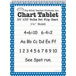 Top Notch Teacher Products Chart Tablet, 24 x 32, 1.5 Ruled Writing Paper, Blue Polka Dot, 25 She