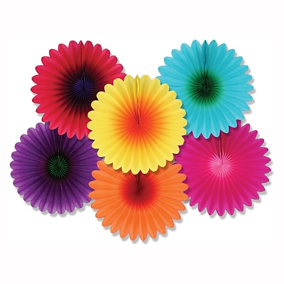 Beistle 6 Mini Flower Fans; Assorted, 18/Pack