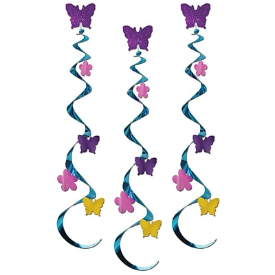 Beistle 30 Butterfly and Flower Whirls; 9/Pack