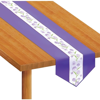 Beistle 12 x 6 Spring Tulips Fabric Table Runner; White/Purple, 2/Pack