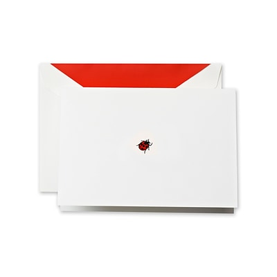 Crane & Co™ Hand Engraved Pearl White Note With Envelope, Red Lady Bug