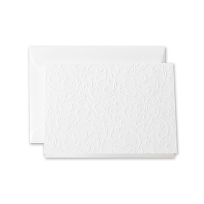 Crane & Co™ Pearl White Note With Envelope, Blind Embossed