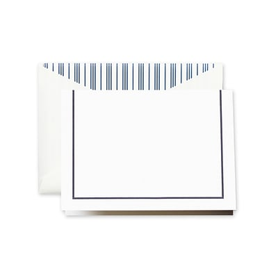 Crane & Co™ Lithographed Pearl White Note With Envelope, Navy Blue Rule Line Frame