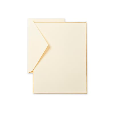 Crane & Co™ Ecruwhite Half Sheet With Envelope, Gold Bordered