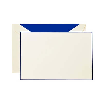 Crane & Co™ Lithographed Ecruwhite Correspondence Card With Envelope, Regent Blue Bordered