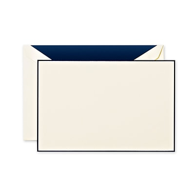 Crane & Co™ Navy Blue Bordered Lithographed Ecruwhite Correspondence Card w/Envelope, Navy Bordered
