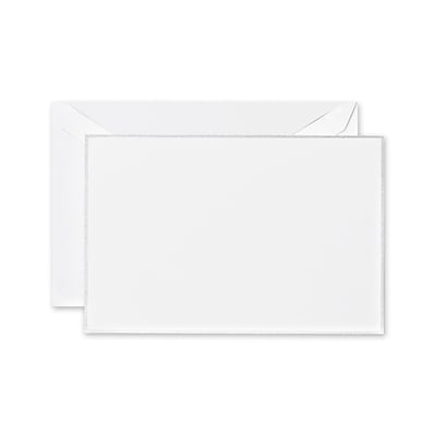 Crane & Co™ Pearl White Correspondence Card With Envelope, Platinum Bordered