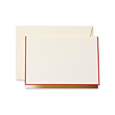 Crane & Co™ Ecru Note With Envelope, Red Bordered