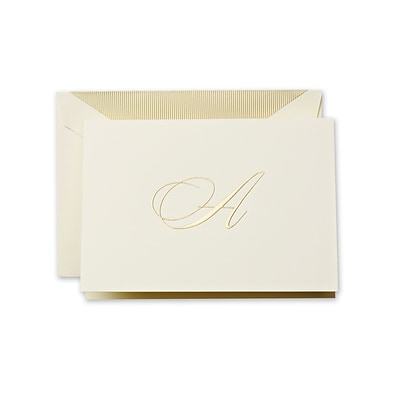 Crane & Co™ Hand Engraved Ecru Initial Note With Envelope, Gold Script A