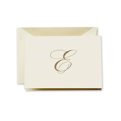 Crane & Co™ Hand Engraved Ecru Initial Note With Envelope, Gold Script E